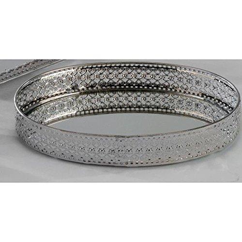 spiegeltablett dekotablett romantik metall silber oval. Black Bedroom Furniture Sets. Home Design Ideas