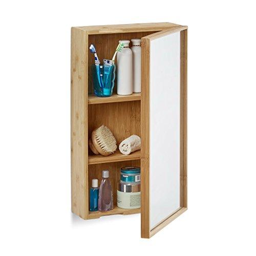 Relaxdays Bad Spiegelschrank Aus Bambus, Eintüriger