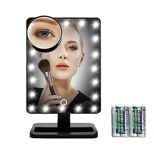 jinchao kosmetikspiegel beleuchtet mit abnehmbar 10 facher vergr erung touchscreen 20 led. Black Bedroom Furniture Sets. Home Design Ideas